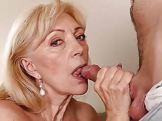 Old Blonde GILF Still Loves Cock
