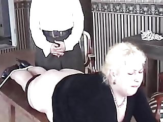 Hefty Blonde Tied and Caned