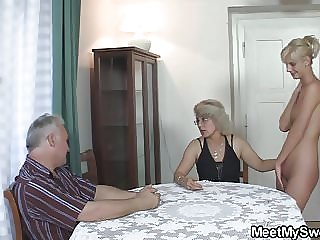 Old Couple Have Fun with Teen Girl