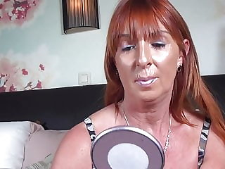 Redhead Mature Mother Feeding Her Pussy