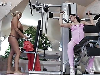 Hot Mature Mom Fucks Young Babe at the Gym