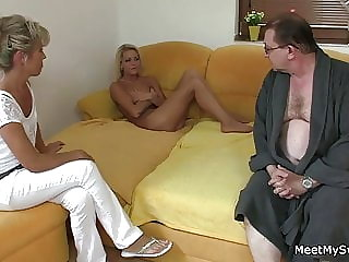 Old Couple with Blonde Teen 3some