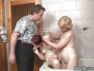 Mature Couple and Teen Fucking in the Bathroom