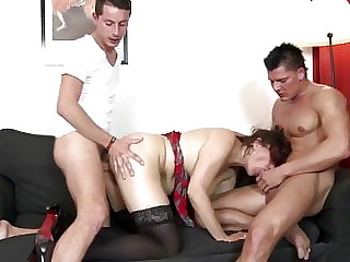 Hairy Mother Heavily Fucked by Two Guys