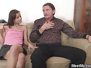 Old Mom Helps Young Riding Old Cock
