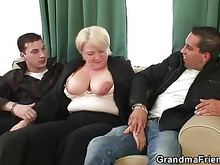 Two Dudes Pick Up and Fuck Boozed Old Granny