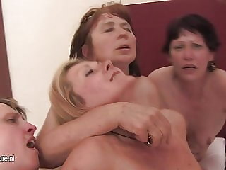 4 Amateur Mothers Banged by Lucky Guy