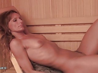 Mature Ladies Relaxing in Female Sauna