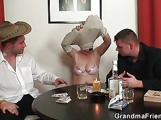 Granny Double Penetration After Card Game