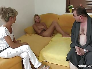 Threesome with Old Couple and Blonde Teen