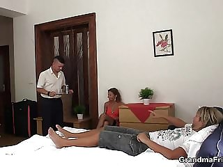 Hot Old Mommy Threesome Banging