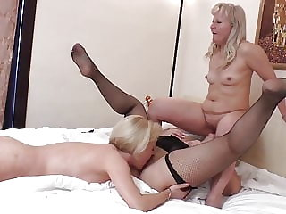 Old and Young Lesbian Hot Threesome