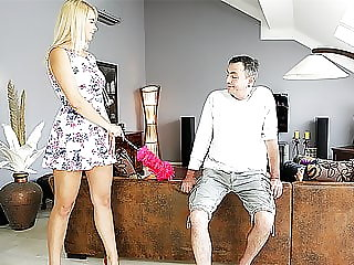 Daddy4k. Busty Chick Fucked by Old Man Next to Her