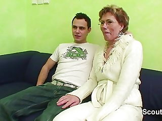 Granny Caught Young Boy Watch Porn and Help with Fuck