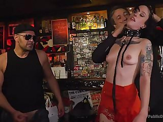 Naked Exhibitionist Lilyan Red, Humiliated and Fucked in Pub