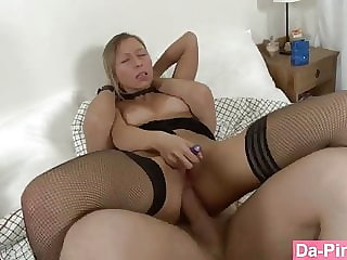 Horny Slut Taking Her First Cock in the Butt