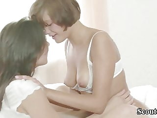 Skinny Teens at First Lesbian Anal Education at Overnight