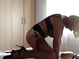 Sissy in Stockings Fuck Duble Dildo and Self Suck