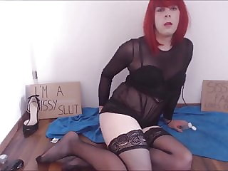 Teen Redhead Sissy Faggot Gets Ass Fucked with Toy