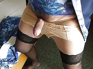 Sissy Crossdersser  Show Girdle Panty and Cock