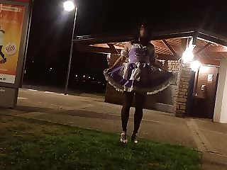 Sissy Flashing Rest Area and Licking Public Toilet