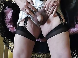 Sissy Ray in Black Skirt & White French Knickers (hotel)