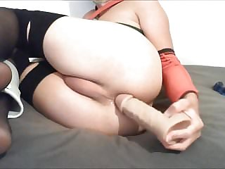 Stretching My Sissy Ass with a Huge Dildo