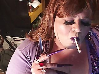 BBW Sissy - Smoking with Long Nails