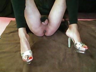 Sissy Red Toe Nails Naked Feet Soles and High Heels