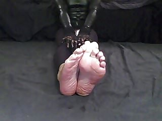 Sissy Foot Fetish Show Soles Red Toes Nails and Spit on Feet