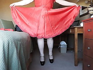 Sissy Ray in Red Silky Dress and No Panties