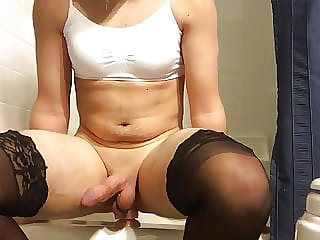 Sissy Rides Toy in the Bathroom