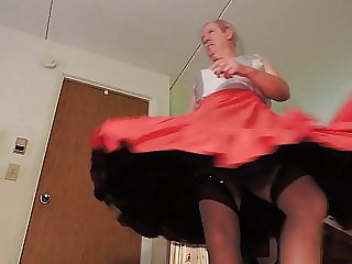 Sissy Ray in Red Taffeta Skirt and Black Petticoat