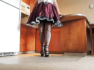 Sissy Ray in Purple Sissy Dress in Kitchen