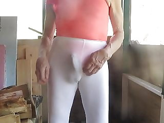 Sissy Slut in His Orange Leotard and Leggings