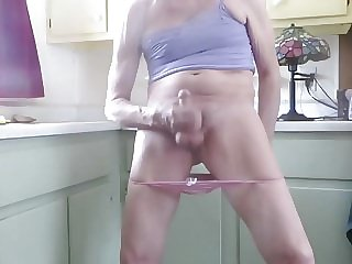 Sissy Pull His Panties Down to Masturbate, Squirt
