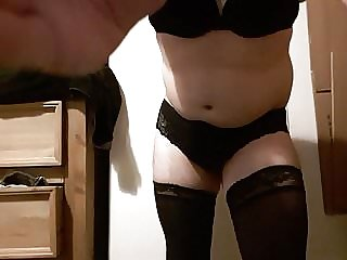 Crossdresser Sissy Wanks in Lingerie