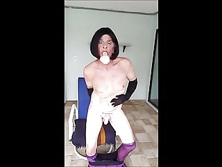 Sissy Roberta in Purple and Black Dildo Fun