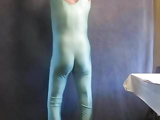 Spandex Sissy Has a Little Boner and Feminine Bottom