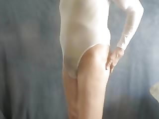 Leotard Sissy Shows His Girly Ass and Cute Little Boy Boner