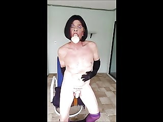 Sissy Roberta's Purple and Black Dildo Session