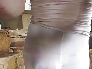 Sissy Bitch in Leggings, Visible Pink Panties