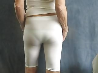 Sissy Bitch in White Spandex, Visible Panties