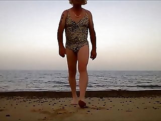 Sissy Ken in Swimsuit on a Beach