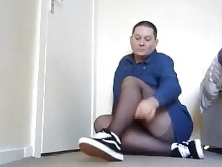 Sissy Wearing Black Tights, White Socks and Vans