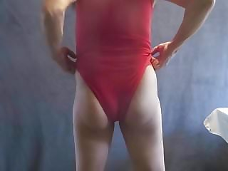 Leotard Sissy Shows His You Feminine Looking Bottom