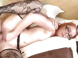 Devind Redhead in Glasses and Stockings Fucks Older Guy
