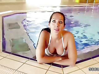 German MILF Seduce to Fuck by Stranger Young Boy on Holiday