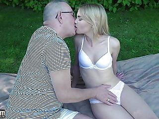 Grandpa Gets to Fuck a Young Tight Virgin Pussy She Swallows