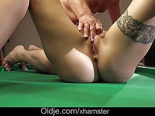 Cutie Teen Shows Step Dad How Wet Pussy is Fucking Old Cock